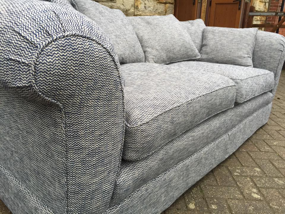 Close up of grey patterned sofa