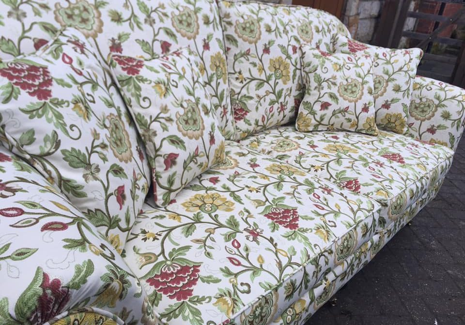 Close up of floral patterned sofa