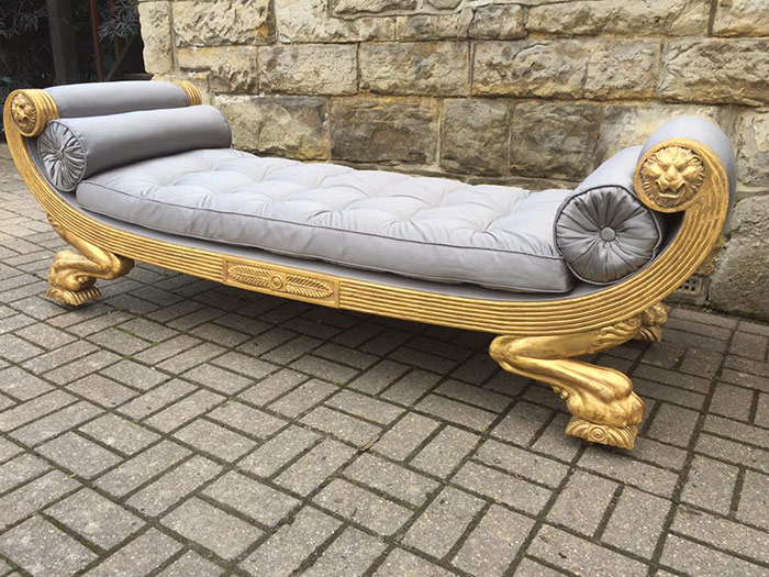 Gold and grey chaise lounge