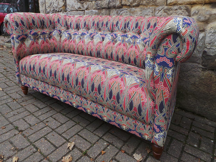 Vibrant patterned sofa