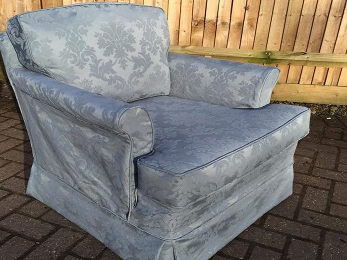 Grey baroque patterned chair